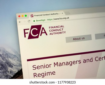 Amsterdam, the Netherlands -September 12, 2018: Website of The Financial Conduct Authority or FCA, a financial regulatory body in the United Kingdom.