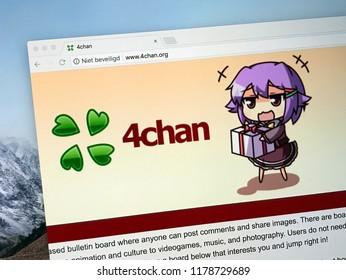 Amsterdam, the Netherlands - September 13, 2018: Website of 4chan, an imageboard website