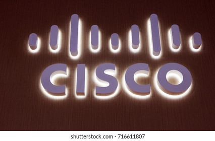 Amsterdam, Netherlands -september 15, 2017: cisco letters on a wall in Amsterdam