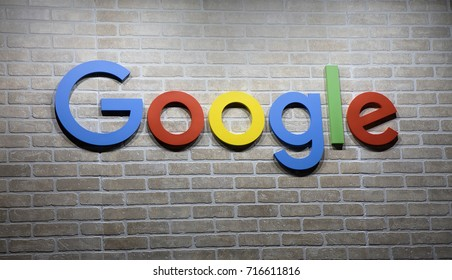 Amsterdam, Netherlands -september 15, 2017: Letters Google on a brick wall