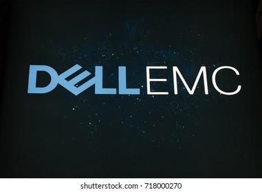 Amsterdam, Netherlands -september 15, 2017: Dell emc letters on a starry sky