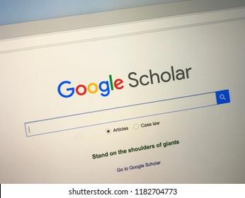Amsterdam, the Netherlands - September 18, 2018: Website of Google Scholar, a web search engine for scholarly literature.