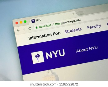 Amsterdam, the Netherlands - September 18, 2018: Website of New York University or NYU, a private nonprofit research university based in New York City.