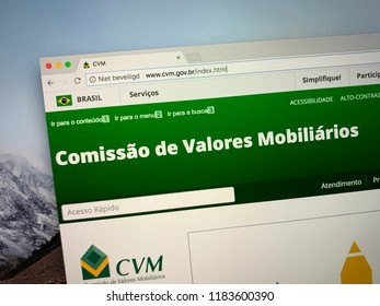 Amsterdam, the Netherlands - September 18, 2018: Portugese website of the Brazilian Securities and Exchange  Commission of Brazil (Portugese: Comissão de Valores Mobiliários).