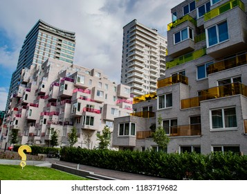 Amsterdam, Netherlands - September 19,2018: Apartments and office buildings at the Zuidas