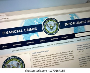 Amsterdam, the Netherlands - September 2, 2018: Website of The Financial Crimes Enforcement Network or FinCEN, a bureau of the U.S. Department of the Treasury.