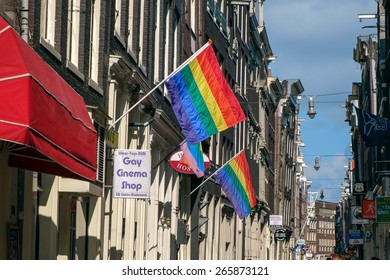 AMSTERDAM, NETHERLANDS - SEPTEMBER, 2014: Gay Neighborhood. Amsterdam was considered the gay capital of Europe in the second half of the 20th century.