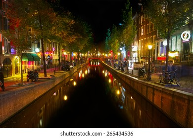 AMSTERDAM, NETHERLANDS - SEPTEMBER, 2014: Red light district, prostitution in the Netherlands is legal and regulated.