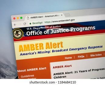 Amsterdam, the Netherlands - September 21, 2018: Website of U.S. AMBER Alert, a Child Abduction Emergency broadcasting system.