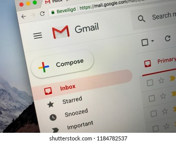 Amsterdam, the Netherlands - September 21, 2018: Website of Gmail, a free email service developed by Google.