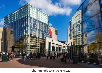 Amsterdam, Netherlands - September 23 2017: Group of tourists visit to Van Gogh Museum, located on Museumplein 6, sunny day
