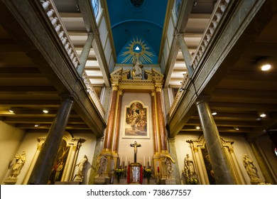 Amsterdam, Netherlands - September 23 2017: Altar in Begijnhof Chapel, is a Roman Catholic church located in a central part of the city