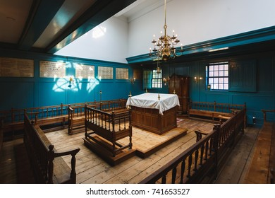 Amsterdam, Netherlands - September 24 2017: Interior of the Chapel in the compound in Portugese Synagogue