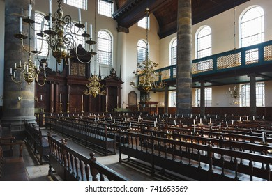 Amsterdam, Netherlands - September 24 2017: Interior of the Portugese Synagogue of Amsterdam