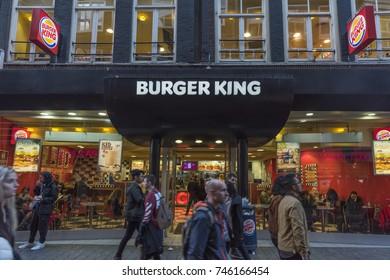 AMSTERDAM, NETHERLANDS - SEPTEMBER 24, 2017: Burger King fast food restaurant at Amsterdam, Netherlands.