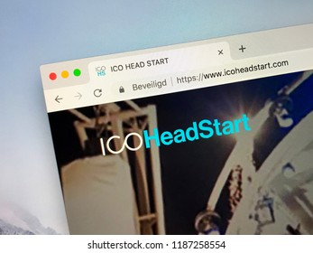 Amsterdam, the Netherlands - September 24, 2018: Website of ICO HeadStart, a crypto fundraising platform.