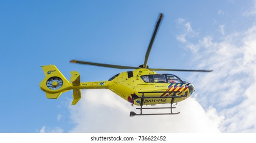 AMSTERDAM, NETHERLANDS - SEPTEMBER 25, 2017: 112 Ambulance Helicopter. ANWB Medical Air Assistance (MAA) from Amsterdam. PH-HVB.