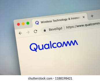 Amsterdam, the Netherlands - September 25, 2018: Website of Qualcomm, an semiconductor and telecommunications equipment company.