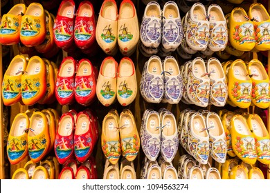 AMSTERDAM, NETHERLANDS - SEPTEMBER 26, 2017: Traditional handmade Dutch wooden clogs in Clog Museum and Wooden Shoe Workshop at Zaanse Schans. Amsterdam, Netherlands.