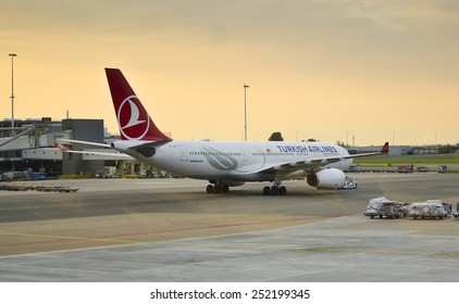 AMSTERDAM, NETHERLANDS - SEPTEMBER 27: a Turkish Airlines Airbus A330 on September 27, 2014 at Schiphol Airport, Amsterdam, Netherlands. Turkish Airlines has over 18,000 employees and a fleet of 261.