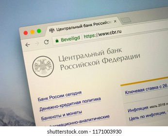 Amsterdam, the Netherlands - September 3, 2018: Official Russian website of The Central Bank of the Russian Federation also known as the Bank of Russia, the central bank of the Russia.