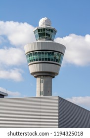 Amsterdam, The Netherlands - September 30, 2018: Air traffic control tower located at Amsterdam Airport schiphol AMS