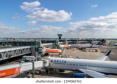 Amsterdam, The Netherlands - September 30, 2018: Delta airlines and icelandair landed at Amsterdam airport schiphol