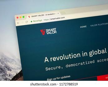 Amsterdam, the Netherlands - September 5, 2018: Website of SMART VALOR, a decentralized, community-based marketplace for tokenized alternative investments.