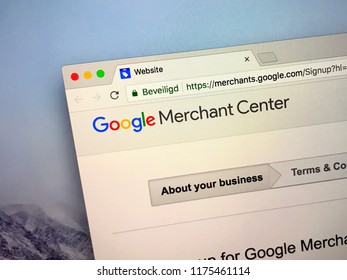 Amsterdam, the Netherlands - September 9, 2018: Website of Google Merchant Center, a tool that helps upload store and product data to Google for Shopping ads.