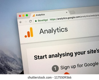 Amsterdam, the Netherlands - September 9, 2018: Website of Google Analytics, a freemium web analytics service for measuring, tracking and reporting website traffic.