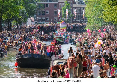 AMSTERDAM, THE NETHERLANDS - SUMMER 2017: People celebrating diversity and equality during the annual GayPride.