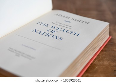 Amsterdam, The Netherlands - Thursday, August 27, 2020 - Photo of early edition book, Adam Smith The Wealth of Nations