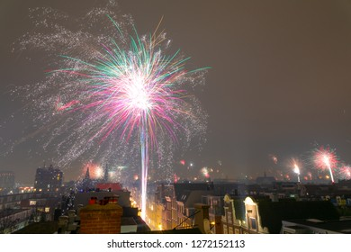 Amsterdam, The Netherlands - Tuesday, January 1, 2019 - Fireworks display on Amsterdam skyline.