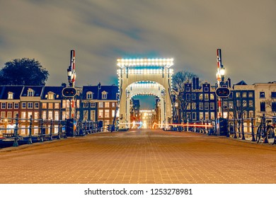 Amsterdam, the Netherlands. View of The Magere Brug at night.