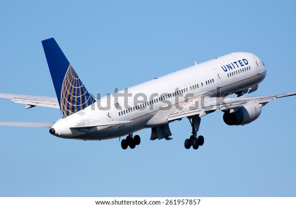 AMSTERDAM, THE NETHERLANDS--11 MARCH 2014-- A United Airlines Boeing 757 passenger airplane is taking off.