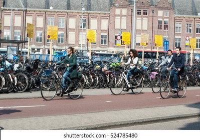 AMSTERDAM- NETHERLANDS-APRIL 2013:cyclists on the road.