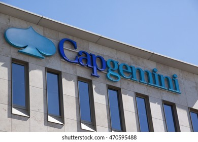 Amsterdam, Netherlands-august 18, 2016:  letters capgemini on a wall
