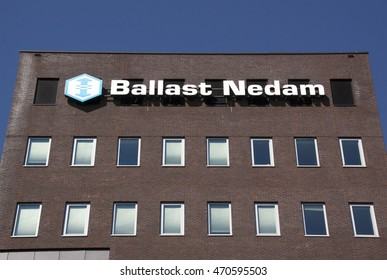 Amsterdam, Netherlands-august 18, 2016: Letters Ballast Nedam on a wall,Ballast Nedam is a major Dutch construction company