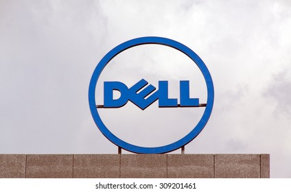 Amsterdam , Netherlands-august 19, 2015: Dell logo at the roof of the dell office in Amsterdam
