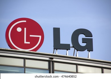 Amsterdam, Netherlands-august 26, 2016: letters lg on a building