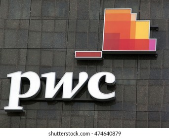 Amsterdam, Netherlands-august 26, 2016: letters pwc on a wall