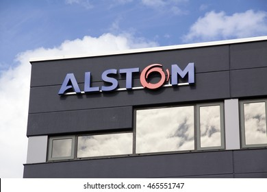 Amsterdam, Netherlands-august 8, 2016: facade of alstom, Alstom is a multinational company which is mainly active in the field of energy and transport