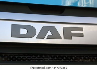 Amsterdam, Netherlands-december 4, 2015: Front of a DAF truck. DAF, a car and a Dutch truck manufacturer