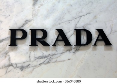 Amsterdam, Netherlands-februari 19, 2017: Letters Prada on a marble wall