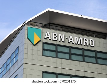 Amsterdam, Netherlands-february 2, 2017: letters ABN AMRO on  a facade in Amsterdam