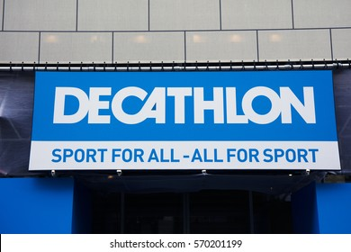 Amsterdam, Netherlands-february 2, 2017: letters decathlon on a wall In Amsterdam