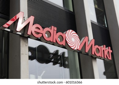 Amsterdam, Netherlands-march 11, 2017: Letters mediamarkt on a store in Amsterdam