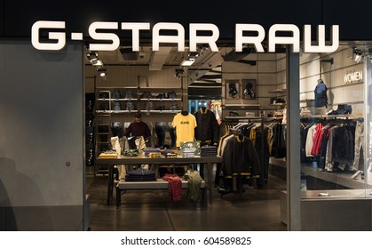 Amsterdam, Netherlands-march 15, 2017:  G star raw shop in Amsterdam schiphol