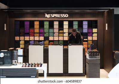 Amsterdam, Netherlands-march 15, 2017: nespresso store at schiphol airport amsterdam