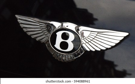 Amsterdam, Netherlands-march 5, 2017: bentley logo on a car in amsterdam